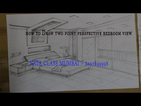 how to Draw two point perspective  bedroom view  #2017 Drawing technique