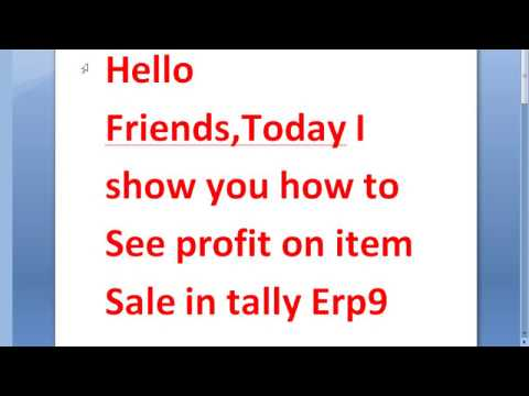 See profit on sale item in tally erp9