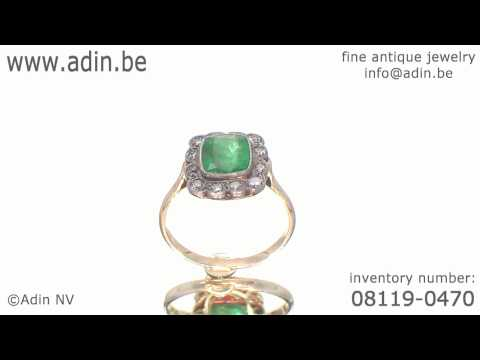 Victorian engagement ring with emerald and antique brilliant cut diamonds (08119-0470)