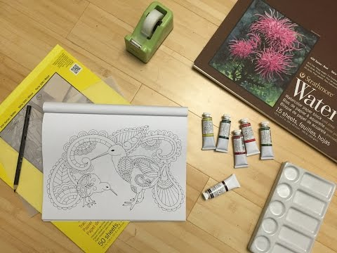Tutorial: Adult Coloring book Pages to Painting on any watercolor paper, PART ONE!