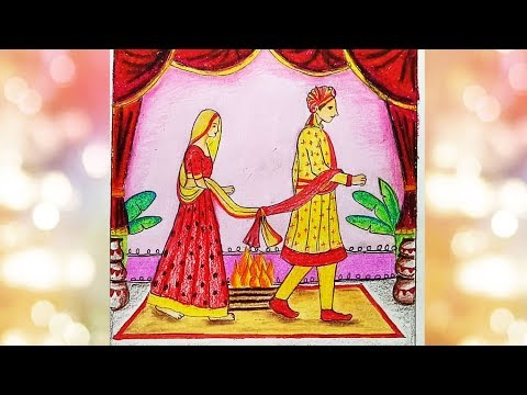 How to draw Indian wedding- Bride and Groom.Step by step(easy draw)