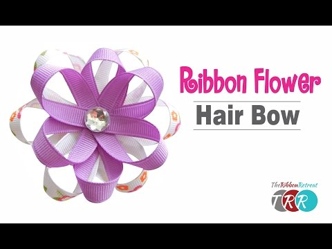 How to Make a Ribbon Flower Hair Bow - TheRibbonRetreat.com