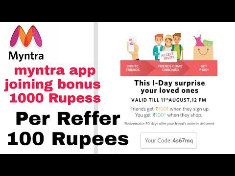 Myntra app joining bonus 1000 Rupess per Reffer 100 Rupees