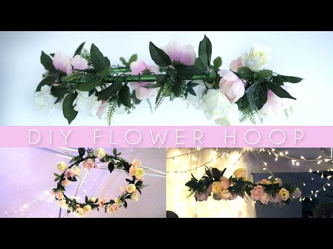 DIY Hanging Flower Wreath / Hula Hoop | Pinterest Party Decor!