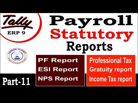 Payroll Statutory Reports in Tally ERP 9 Class-11|Complete Tally Payroll Tutorials in Hindi Part-117