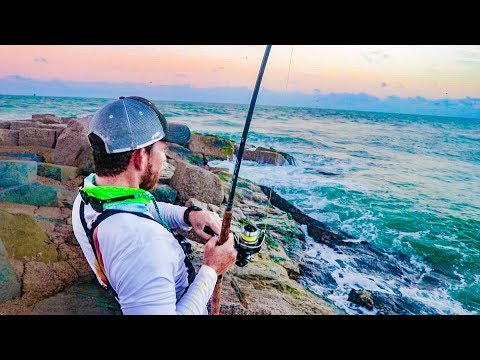 fishing for bull red drum on the jetty