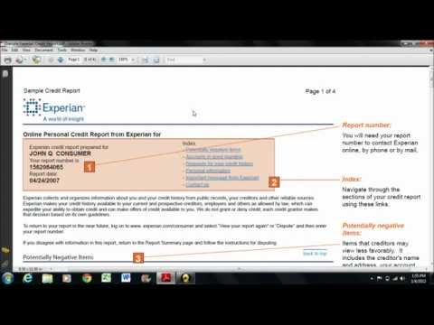 CRC - How to read an Experian credit report