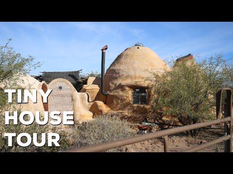 Unique Off Grid Earth Bag Tiny House Tour - Bisbee Arizona