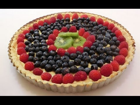 Kiwi-Berry Fruit Tart with Almond Cookie crust and Custard filling