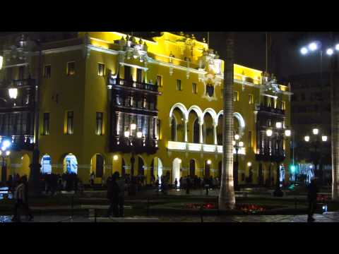Plaza de Armas at night in central Lima, one of the finest city squares in the world