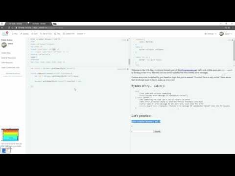 Easy JavaScript - Error Handling - throw custom errors (45)