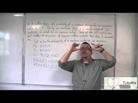 OCR MEI Statistics 1 6.04 Hypothesis Testing - Critical Region Method - Less than Example