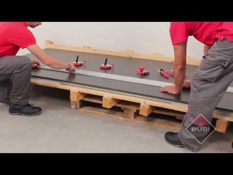 How to cut large tiles with - RUBI Slim system cutter - Como cortar ceramica de gran formato