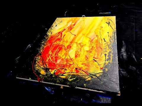 ABSTRACT PAINTING - painting flame with acrylic paint, water, sponge, spatula, brush