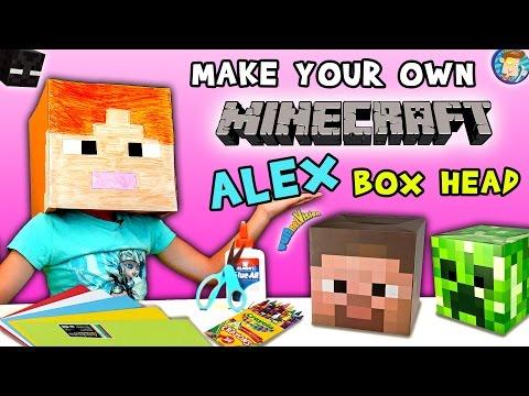 HOW-TO Make a MINECRAFT ALEX Box Head!  (FUNnel Vision DIY Cosplay Tutorial w/ Lexi) ✂