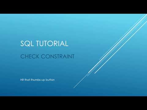 SQL Tutorial - CHECK Constraints