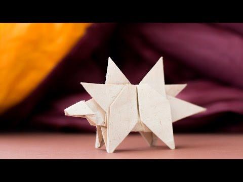 Origami Dinosaur. How to make dinosaur from paper. Stegosaurus