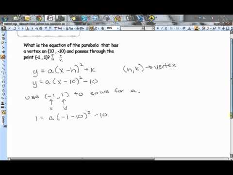 Finding the Equation of a Parabola Given a Vertex and a Point