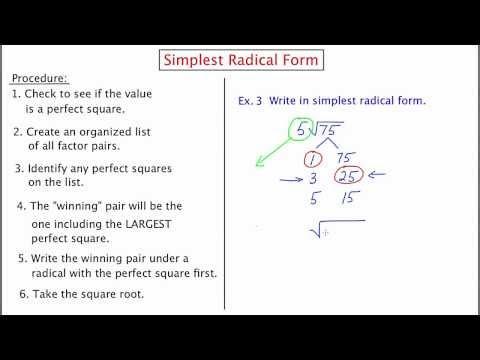 MathCamp321: Simplest Radical Form