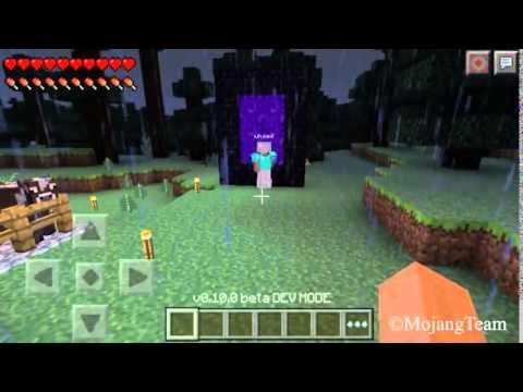 Minecraft PE 0.10.0 build a nether portal