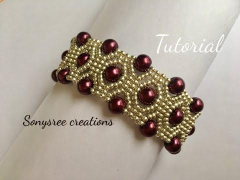 DIY Pearl Beaded bracelet, square Stitch (TUTORIAL)