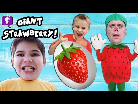 GIANT RED COLOR EGG and Strawberry ADVENTURE SURPRISE with HobbyKidsTV