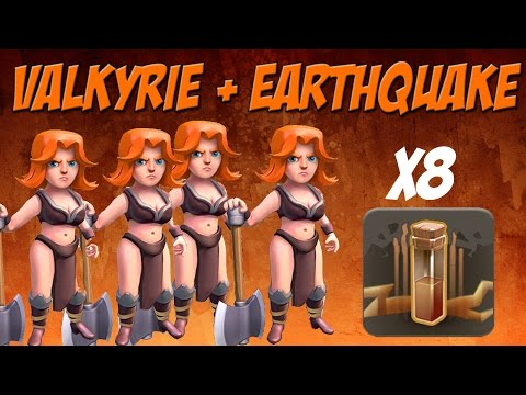 Epic All Valkyrie Attack and Earthquake Spells | Clash of Clans