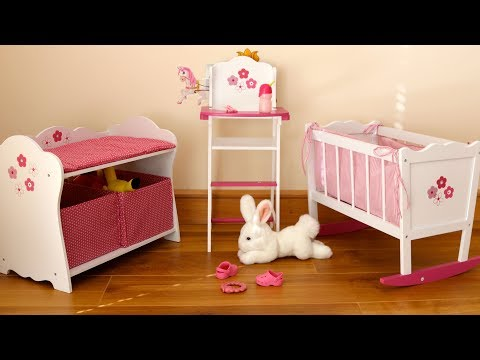 Baby Dolls Bedroom Rocking Cot Bed Highchair Changing Table - Baby Annabell Evening Routine