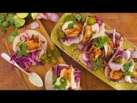 Chipotle Grilled Fish Tacos with Tequila-Lime Slaw and Avocado Crema