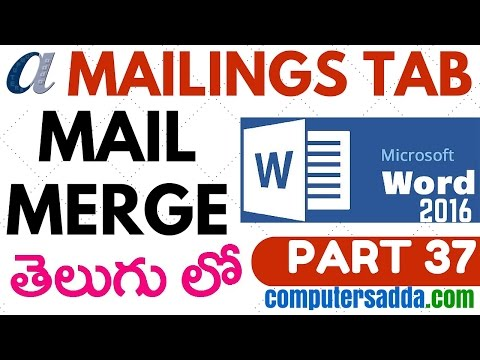 Ms-word 2016 in Telugu 37(Mail Merge) (www.computersadda.com)