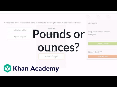 Choose pounds or ounces to measure weight | 4th grade | Khan Academy