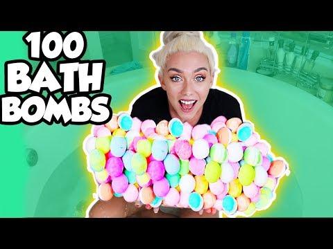 100 RAINBOW BATH BOMB CHALLENGE!