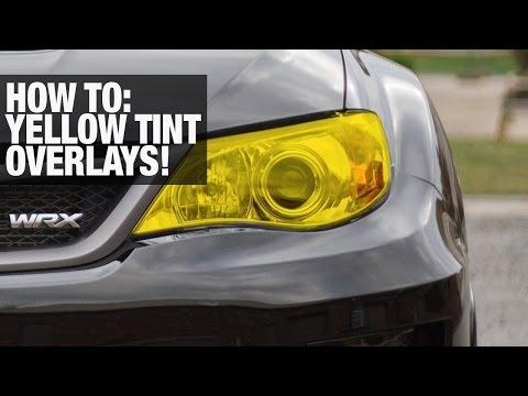 HOW TO: Tint Headlight Yellow with vinyl overlays (SUBARU)