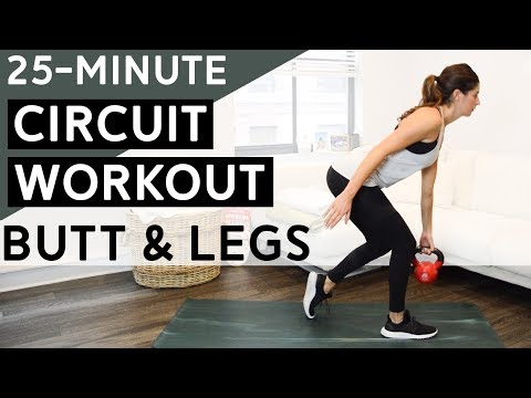 Butt & Legs Circuit Workout with Cardio Blasts (25 Minutes)