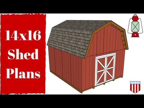 14x16 Gambrel Shed Plans