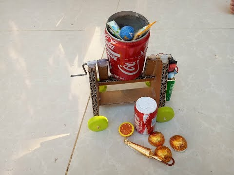 How to make Concrete mixer for kid with  Cardboard and Coca Cola .Candys mixer
