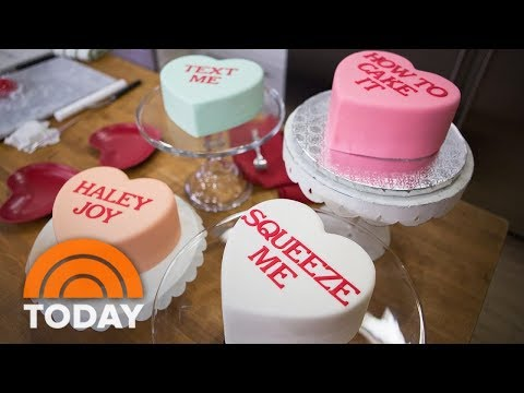 'How To Cake It' By Yolanda Gampp Makes Conversation Heart Cakes For Valentine's Day   TODAY