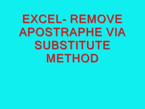 EXCEL-REMOVE APHOSTRAPHE