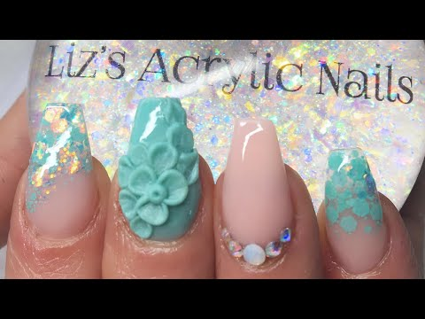 Acrylic Nails | Mint Green | 3D Flower Feature Nail