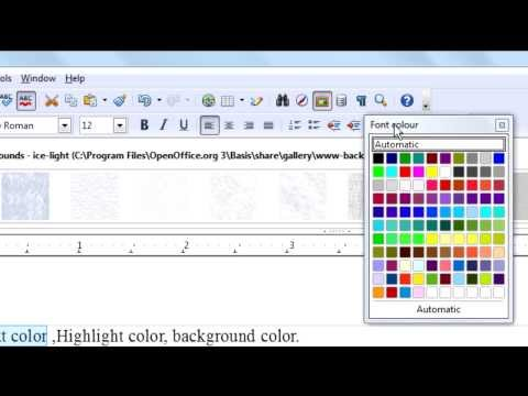 Openoffice.org Writer Tutorial-Text color,Highlight color,Background color.