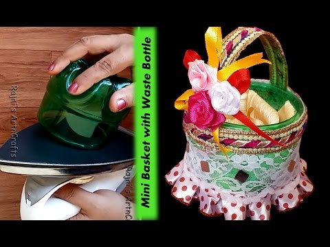 Creative Ideas-Art and Crafts -How to make Beautiful Mini Basket with Waste Bottle