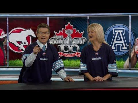 Calgary news anchors lose bet and wear Argos jerseys