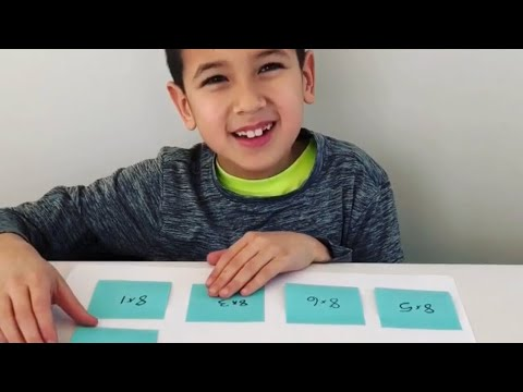 Sticky Note Math Facts - learning multiplication activity