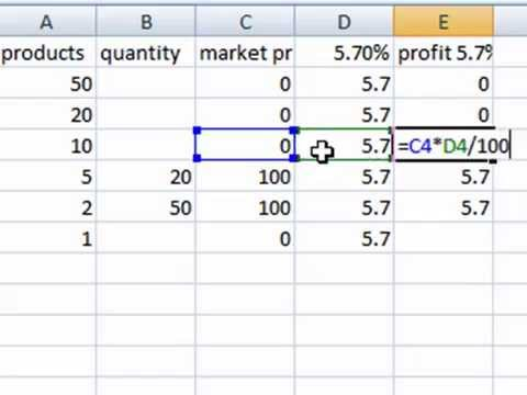 Excel Sum Percentage multiply Formulas