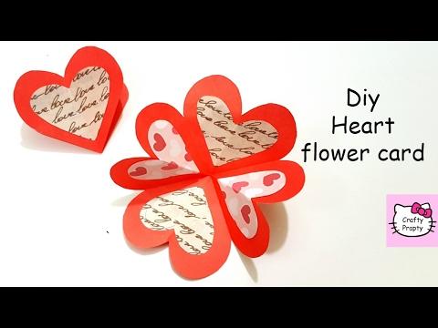 DIY Heart Flower Card/DIY Handmade card/Tutorial For Scrapbook/Valentine's day gift idea