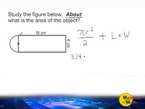 Area Of Combined Shapes - Rectangle And Semi-Circle