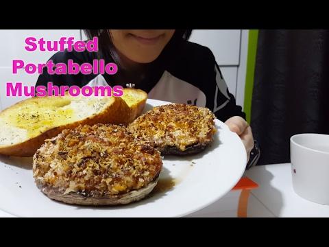 Stuffed Portabello Mushrooms w/ Garlic Bread : ASMR / Mukbang ( Eating & Cooking Sounds )