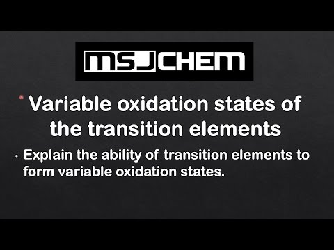 13.1 Variable oxidation states of the transition elements (HL)