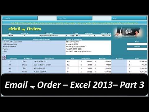 Excel VBA - Email my Order - Excel 2013 - Part 3