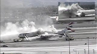 Extended Footage: British Airways Engine Fire at McCarran Airport (September 2015)